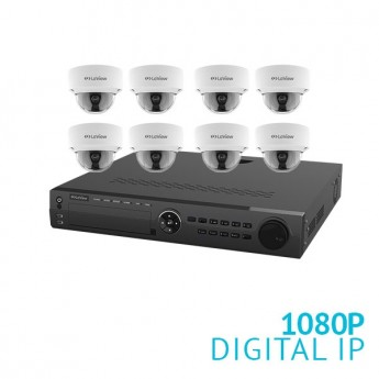 16 Channel NVR Security System with 8x 1080P Dome IP Cameras