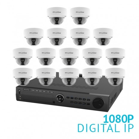 16 Channel NVR Security System with 16x 1080P Dome IP Cameras