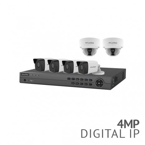 ​8 Channel 4K NVR Security System with 6x 4MP HD IP Cameras, 4x Bullet, 2x Dome